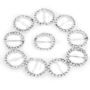 Vanki 10x Round Silver Crystal Rhinestone Ribbon Buckle Slider Charm Beads for DIY Jewellery Finding 22MM