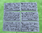 SET 6 pcs PLASTIK mould CONCRETE PLASTER WALL STONE TILES FOR FORMS WALL #W17