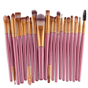 Love Millie Girls Colourful Makeup Brushes Makeup Brush Set Powder Brush Makeup Brush Kit (20pcs)pink gold