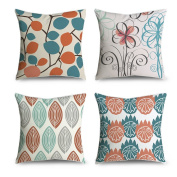 FabricMCC Mid-Century Modern Leaf Pattern Decorative Throw Pillow Case Cushion Cover 18x18, Set of 4