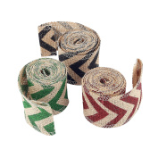 Burlap Craft Ribbon with Chevron Print for DIY Crafts Home Wedding Christmas Decoration pack of 3