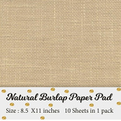 Printable Natural Burlap Paper Pad | Burlap scrapbooking supplies | Laminated Burlap Paper for Burlap Prints | Burlap card stock - Size 22cm x 28cm - 10 sheets in 1 pack