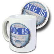 August 1985 Road Tax Disc Mug & Coaster Set, Boxed - 32nd Birthday Gift