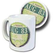 August 1983 Road Tax Disc Mug & Coaster Set, Boxed - 34th Birthday Gift