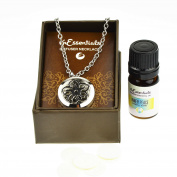Lotus Essential Oil Diffuser Necklace Stainless Steel Locket Pendant with 60cm Chain, oil, and pads in Gift Box