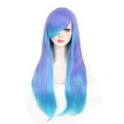 CosHouse Girls Sweet Long Natural Wigs,Highlight Blue Cosplay Wig for Party & Halloween