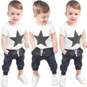 Efaster Toddler Boys Outfit Clothes Star Printed T-shirt Tops+Long Pants Trousers 1Set
