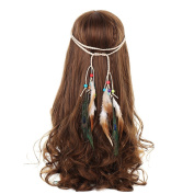 AWAYTR Hippie Feather Flocking Beads Weave Headband Tassel Beige Headdress Headpiece Hairband