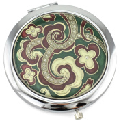 Paisley Flower Gel Inlay - Dual Sided Steel Compact Mirror - Regular & Magnify
