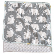 Pam Grace Creations Indie Elephant Baby Blanket, Grey/White