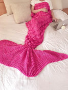 ACRIMAX Queen Mermaid Tail Extra Large Crochet Blanket with Scale Pattern for girls,Perfect gift all seasons Mermaid tail sleeping bag for adults in Christmas, Holloween and Birthday-Rose Red