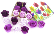 Valentine Purple Rose bath bombs, Colourful 9 Charming Rose Flower with tulip gift box, lovely gift for christmas.