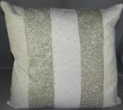Jewel Parallels Velvet Pillow Ivory - 50cm x 50cm .