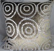 Grey Jewel Circles Velvet - 50cm x 50cm . Pillow