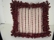 Two-Tone Border Pillow in Ivory/Plum - 46cm x 46cm .