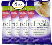 Bundle Pack of Four (4) Ban Total Refresh Cooling Body Cloths with Smooth PowderSilk Technology to Restore -- 10 Cloths Per Pack for 40 Total Cloths
