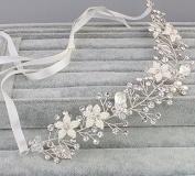 Feyarl Handmade Pearl Rhinestone and Crystal Bridal Headband, Head Vine, Wedding Hairbands