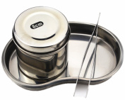 Moyishi Eyebrow Tools Stainless Steel Ointment Jar With Bending Surgical Tray Tweezer Kit