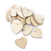 OULII 40mm Blank Heart Wood Slices Discs for DIY Crafts Embellishments for Valentine's Day gift DIY, Pack of 50