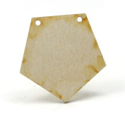 Mylittlewoodshop - Pkg of 50 - Pentagon - 1-1/4 inches with 2 2mm holes and 1/8 inch thick unfinished wood