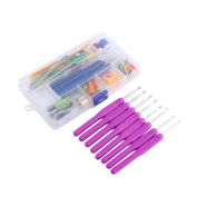 52 Piece 16 Size Crochet Hooks Needles Stitches Knitting Craft Crochet Set In Plastic Case ,Purple/Pink/Green/Rosy