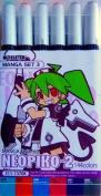 Deleter Neopiko-2 Refillable Dual-Tip Alcohol Marker Set of 6 [Manga Set version 3] for Professional Comic Manga Graphic Illustration