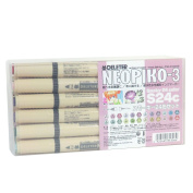 Deleter Neopiko-3 Watercolour Markers [S24C Smoky 24 Colour Set] Dual Tip for Fabric and Paper Comic Manga Graphic Illustration