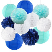 12pcs Mixed Royal Blue Light Blue White Party Tissue Pom Poms Hanging Paper Lantern Honeycomb Balls Themed Party Wedding Birthday Bridal Shower Decortion Favour