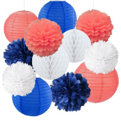 12pcs Mixed Royal Blue Coral White Party Tissue Pom Poms Hanging Paper Lantern Honeycomb Balls Nautical Themed Vintage Wedding Birthday Shower Party Nursery Decoration