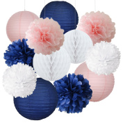 12pcs Mixed Navy Blue Pink White Party Tissue Pom Poms Hanging Paper Lantern Honeycomb Balls Nautical Themed Vintage Wedding Birthday Girl Baby Shower Nursery Decoration