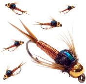 BH Copper John Fly Fishing Nymph Trout Fly Assortment - Choose Your Colour - 6 Flies