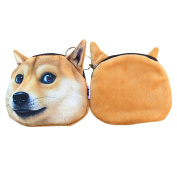 Per Women Men Funny Dog Face Soft Ployester Small Coin Purse - 2 Style Available
