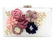 Women's Satin Flower Dinner Clutch Pearl Beaded Evening Hand Bag