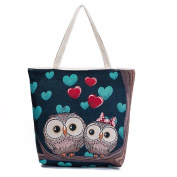 Allywit Owl Printed Canvas Tote Casual Beach Bags Women Shopping Bag Handbags