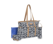 Carter's Aztec Jacquard Studio Tote Nappy Bag, Black/White