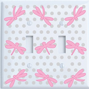 Double Toggle Pink Dragonfly Switch Plate Covers / Dragonfly Nursery Wall Decor