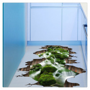 3D Stream Cliff Floor Wall Sticker, Buedvo Removable Mural Decals Vinyl Art Living Room Decor,50cm x 70cm