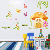 BIBITIME Spring Flower Grass Meadow Mushroom House Decor Stikcer for Nursery Kids Room Colourful Butterflies Decals Home Vinyl Green Vines Wall Art Mural