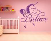 Wall Decal Sticker Bedroom Believe Unicorn Fairytale Horse Cartoon Kids Girls Room Decor 319b