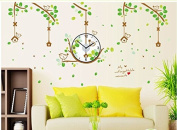 Revesun Wall Sticker Small Bird Cage Vine Wall Decals Affixed to The Green Background of Clock for Living Room Removable 30*90cm