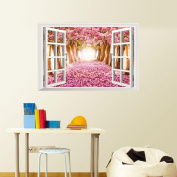 ☀ KESEE 3D Window Cherry Blossom Tree Art Home Decor Wall Sticker Wall Decals