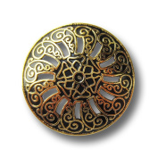 Button Paradise Sewing Buttons - Set of 3 Stunning Metal Buttons with Sunburst Pattern, Filigrane Design - Colour