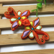 Lyracces Sewing Fasteners knotting butterfly dragonfly Satin Fabric Cotton Stuff Chinese decorative knots Cheongsam Frogging Button 1pair
