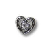Button Paradise Sewing Buttons - Set of 5 Beautiful Heart Shaped Metal Buttons, Sparkling Rhinestone (Glass) - Colour