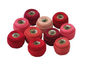 Vog Perle Cotton Size 8 Embroidery Threads - Set of 10 Balls (10gr Each) - Red, Bordo and Peach Shades