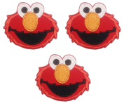 Sesame Street Elmo Face 6.4cm Wide Embroidered Iron On Patch Set of 3 Patches
