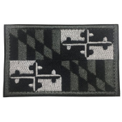 SpaceAuto Maryland State Flag Tactical Morale Patch - Black & White & Grey