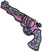 Love Gun flower power hippie embroidered applique iron-on patch new S-1325