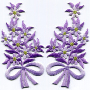 Amethyst purple flowers floral bouquet pair embroidered appliques iron-on patches S-1294