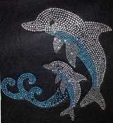 Dolphin Rhinestone Iron On Heat Press Crystal MOTIF Fish Sea Water